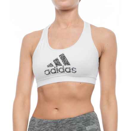 adidas Graphic Racerback Sports Bra - Low Impact (For Women) in White/Black - Closeouts