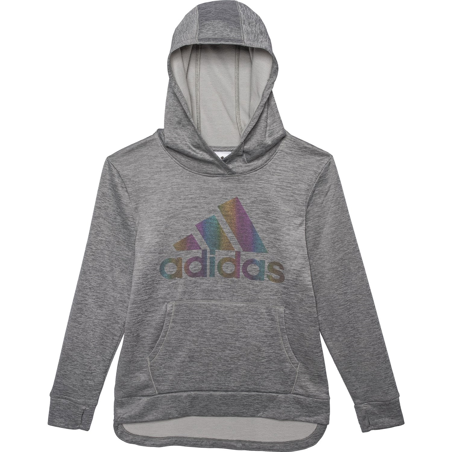 adidas Grey Heather Design Logo Hoodie (For Big Girls)