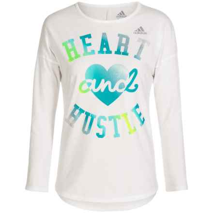 adidas Heart and Hustle T-Shirt - Long Sleeve (For Big Girls) in White W/Blue - Closeouts