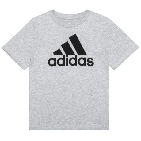 adidas Heather Logo T-Shirt - Short Sleeve (For Little Boys) in Grey