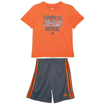 adidas Heather T-Shirt and Shorts Set - 2-Piece, Short Sleeve (For Toddler Boys) in Bright Orange - Closeouts
