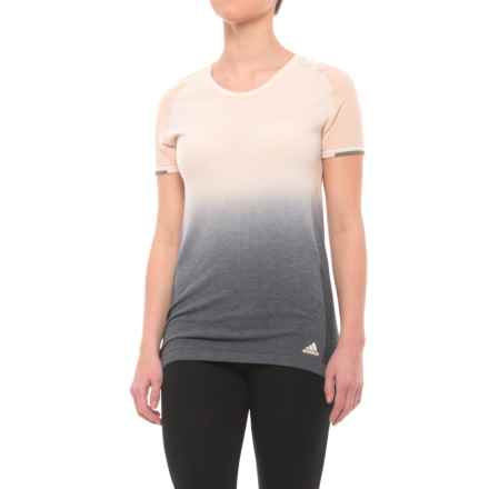 adidas High-Performance ClimaLite® T-Shirt - Wool Blend, Short Sleeve (For Women) in Linen - Closeouts
