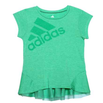 adidas High-Performance Melange Shirt - Short Sleeve (For Toddler Girls) in Bright Green - Closeouts