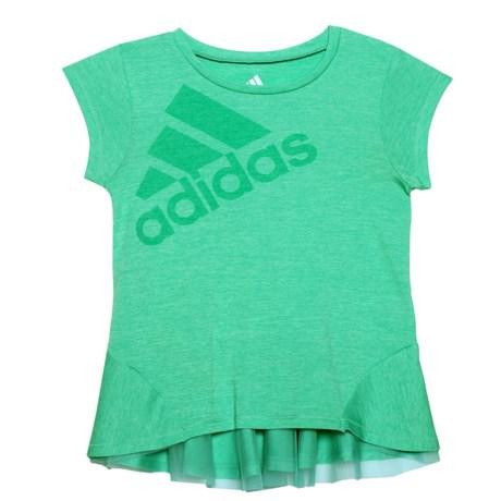 adidas High-Performance Melange Shirt - Short Sleeve (For Toddler Girls) in Bright Green