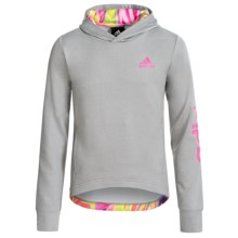 Adidas Hilo Pullover Hoodie (For Big Girls) in Medium Grey Heather/Shock Pink - Closeouts