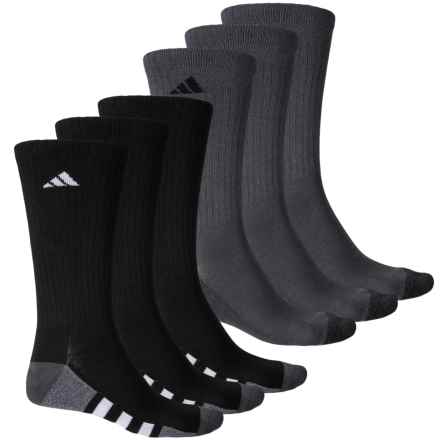 adidas HL 3-Stripe Crew Socks - 6-Pack (For Men) in Black/Onix/Light Onix Marl - Closeouts