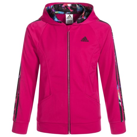 adidas Hooded Tricot Jacket (For Big Girls) in Dark Pink
