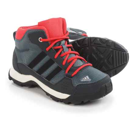 adidas Hyperhiker Mid Trail Shoes (For Little and Big Kids) in Onix/Black/Vivid Red - Closeouts