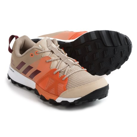 adidas Kanadia 8 Trail Running Shoes (For Women) in Linen/Collegiate Burgundy/Glow Orange
