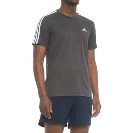 adidas Ki 3-Stripe Trail Shirt - Short Sleeve (For Men) in Dark Grey Heather - Closeouts
