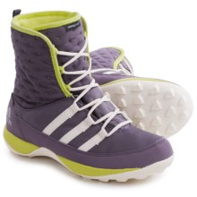 adidas Libria Pearl Snow Boots - Waterproof, Insulated (For Little and Big Kids) in Ash Purple/Chalk White/Frozen Yellow - Closeouts