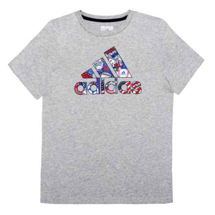 adidas Logo Flag Graphic T-Shirt - Short Sleeve (For Big Boys) in Grey - Closeouts