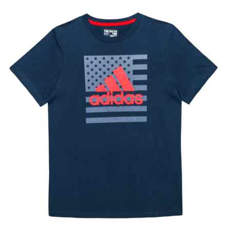 adidas Logo Flag Graphic T-Shirt - Short Sleeve (For Big Boys) in Navy - Closeouts