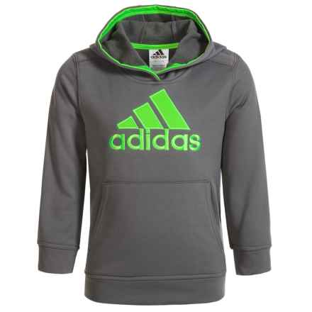 adidas Logo Fleece Hoodie (For Big Boys) in Grey/Green - Closeouts