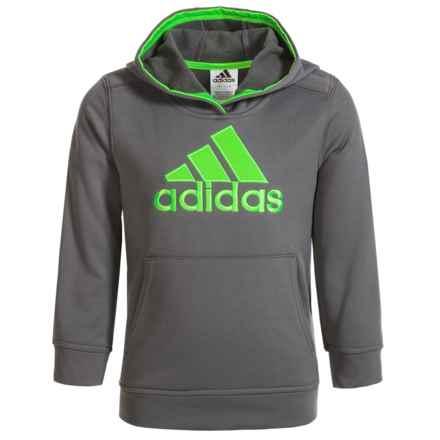 adidas Logo Fleece Hoodie (For Big Boys) in Grey/Green - Closeouts