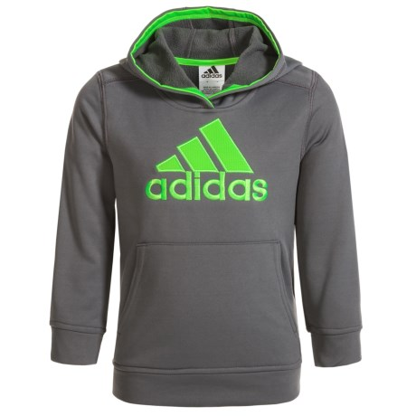 adidas Logo Fleece Hoodie (For Big Boys) in Grey/Green