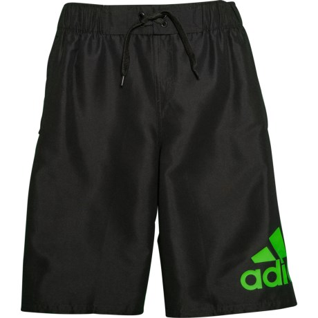 4089429b32 adidas Logo Mania Swim Trunks - Black (For Big Boys) in Black