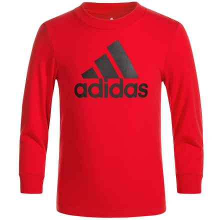 adidas Logo T-Shirt - Long Sleeve (For Big Boys) in Scarlet/Black - Closeouts