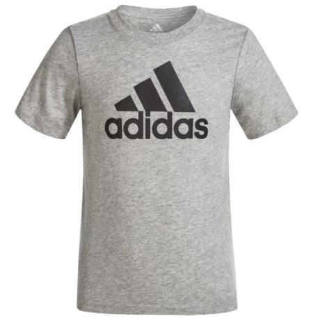 adidas Logo T-Shirt - Short Sleeve (For Big Boys) in Grey Heather/Black
