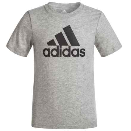 adidas Logo T-Shirt - Short Sleeve (For Little Boys) in Grey Heather/Black - Closeouts
