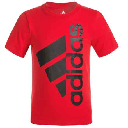 adidas Logo T-Shirt - Short Sleeve (For Little Boys) in Scarlet/Black - Closeouts