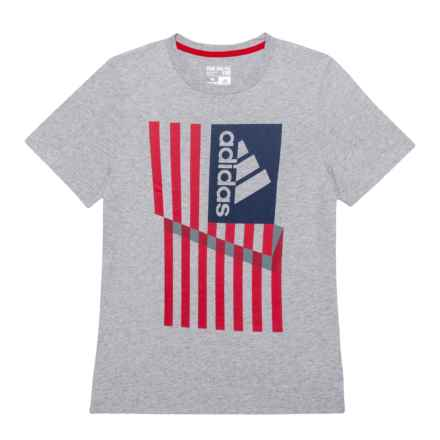 adidas Logo USA Flag Cotton T-Shirt - Short Sleeve (For Big Boys) in Grey - Closeouts