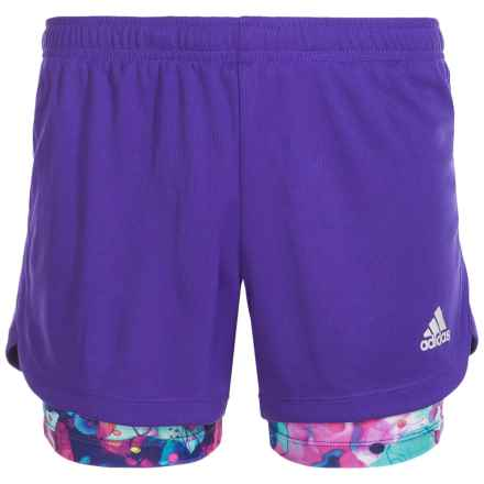 adidas Marathon 2-in-1 Shorts - Built-In Shorts (For Big Girls) in Dark Purple - Closeouts