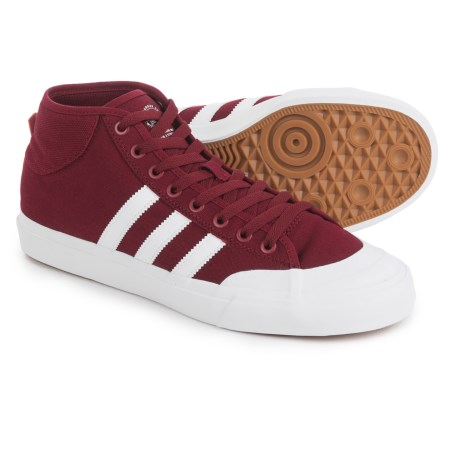 adidas Matchcourt Mid Shoes - Canvas (For Men) in Burgundy/White