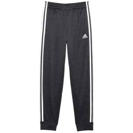 adidas Melange Fleece Joggers (For Big Boys) in Black Heather W/White - Closeouts