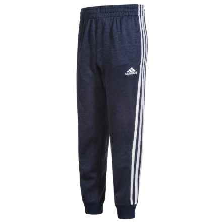 adidas Melange Fleece Joggers (For Big Boys) in Collegiate Navy Heather/White - Closeouts