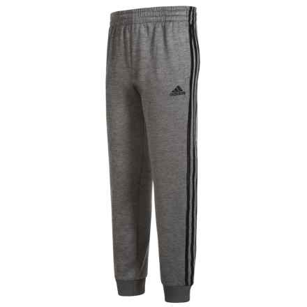 adidas Melange Fleece Joggers (For Little Boys) in Grey Five Heather/Black - Closeouts