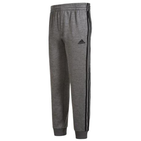 adidas Melange Fleece Joggers (For Little Boys) in Grey Five Heather/Black