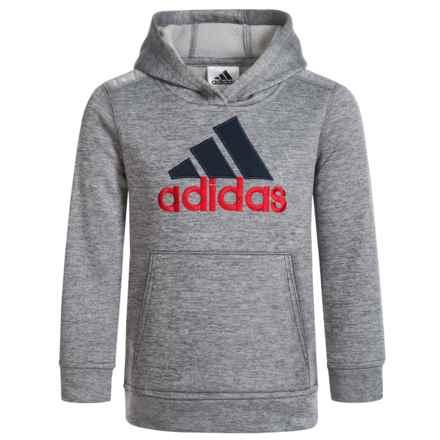 adidas Melange Hoodie (For Big Boys) in Grey W/Blue - Closeouts