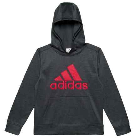 adidas Melange Logo Fleece Hoodie (For Big Boys) in Black Heather W/Scarlet - Closeouts