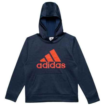 adidas Melange Logo Fleece Hoodie (For Big Boys) in Collegiate Navy Heather W/Bold Orange - Closeouts