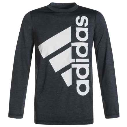 adidas Melange Logo T-Shirt - Long Sleeve (For Big Boys) in Black Heather/Grey Two - Closeouts