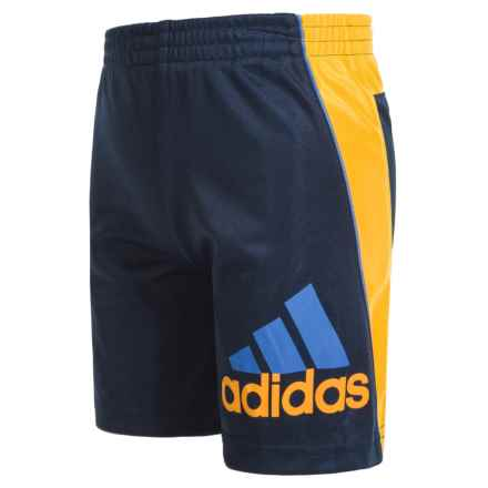 adidas Midfielder Athletic Shorts (For Little Boys) in Navy/Yellow - Closeouts