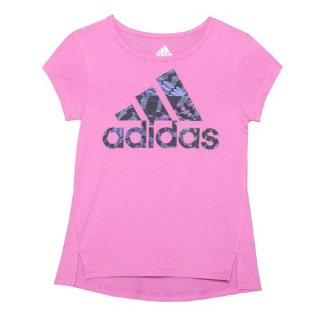 adidas On My Game T-Shirt - Short Sleeve (For Toddler and Little Girls) in Medium Pink