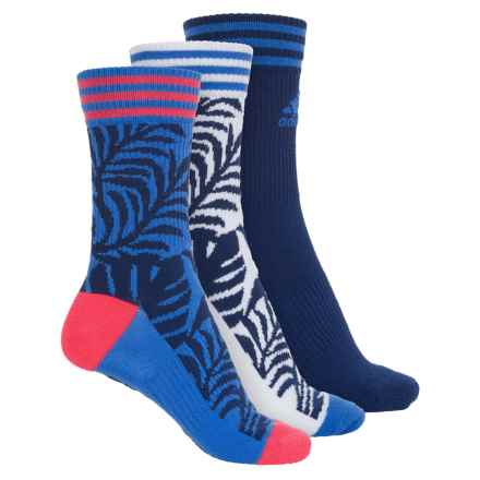 adidas outdoor Adipalm Socks - 3-Pack, Crew (For Women) in Ray Blue/Unity Ink Purple/White/Shock Red - Closeouts