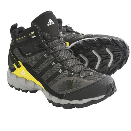 Adidas Outdoor AX 1 Mid Gore-Tex® Hiking Boots - Waterproof (For Men) in Dark Cinder/Black/Lab Lime
