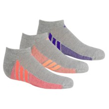 adidas outdoor ClimaCool® Cushioned Socks - 3-Pack, Below the Ankle (For Big Girls) in Grey/Flash Orange, Grey/Blue, Grey/Flash Red - Closeouts