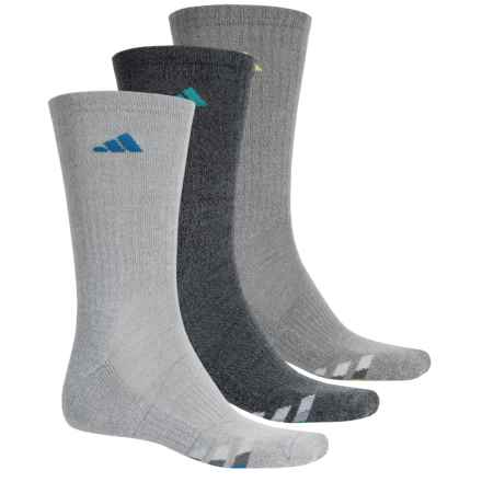 adidas outdoor ClimaCool® Cushioned Socks - 3 Pack, Crew (For Men) in Grey/Shock Blue/Green - Closeouts