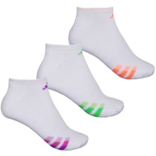 adidas outdoor ClimaLite® Cushioned No-Show Socks - 3-Pack, Below the Ankle (For Women) in White/Flash Green/Flash Orange/Flash Pink - Closeouts