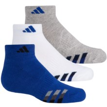 adidas outdoor ClimaLite® Cushioned Socks - 3-Pack, Ankle (For Big Kids) in Bold Blue/Black, White/Bold Blue, Grey/Bold Blue - Closeouts