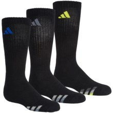 adidas outdoor ClimaLite® Cushioned Socks - 3-Pack, Crew (For Big Kids) in Black/Bold Blue, Black/Grey, Black/Yellow - Closeouts