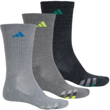 adidas outdoor ClimaLite® Cushioned Socks - 3-Pack, Crew (For Big Kids) in Grey/Blue, Dark Grey/Teal, Grey/Yellow - Closeouts