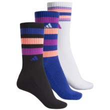 adidas outdoor ClimaLite® Retro II Socks - 3-Pack, Quarter Crew (For Women) in Black/Night Flash/Flash Orange/Flash Pink - Closeouts