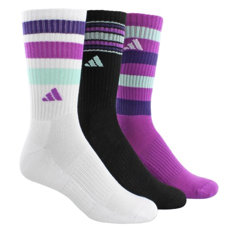adidas outdoor ClimaLite® Retro II Socks - 3-Pack, Quarter Crew (For Women) in White/Black/Shock Purple/Unity Purple/Ice Green