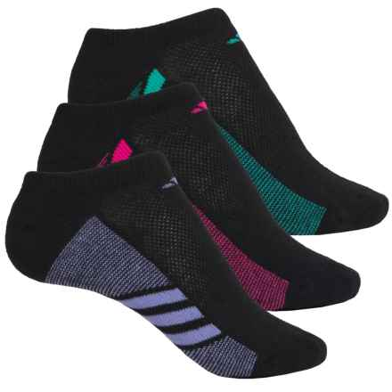 adidas outdoor Cushioned No-Show Socks - 3-Pack, Below the Ankle (For Big Girls) in Black//Light Flash Purple//Shock Pink/Shock Mint - Closeouts