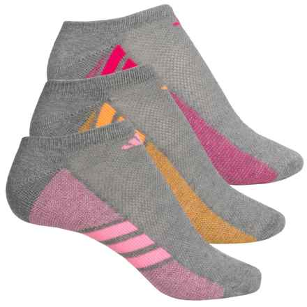 adidas outdoor Cushioned No-Show Socks - 3-Pack, Below the Ankle (For Big Girls) in Heather Light Onix/Pink Glow Solar Gold Shock Pink - Closeouts